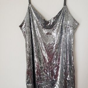 Wild Fable Silver Sequin Party Cocktail Dress